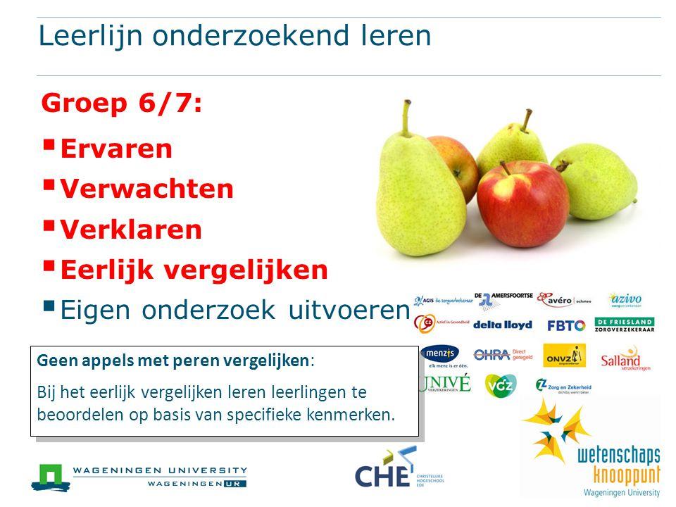 Leerlijn onderzoekend leren Groep 6/7:  Ervaren  Verwachten  Verklaren  Eerlijk vergelijken  Eigen onderzoek uitvoeren Geen appels met peren vergelijken: Bij het eerlijk vergelijken leren leerlingen te beoordelen op basis van specifieke kenmerken.