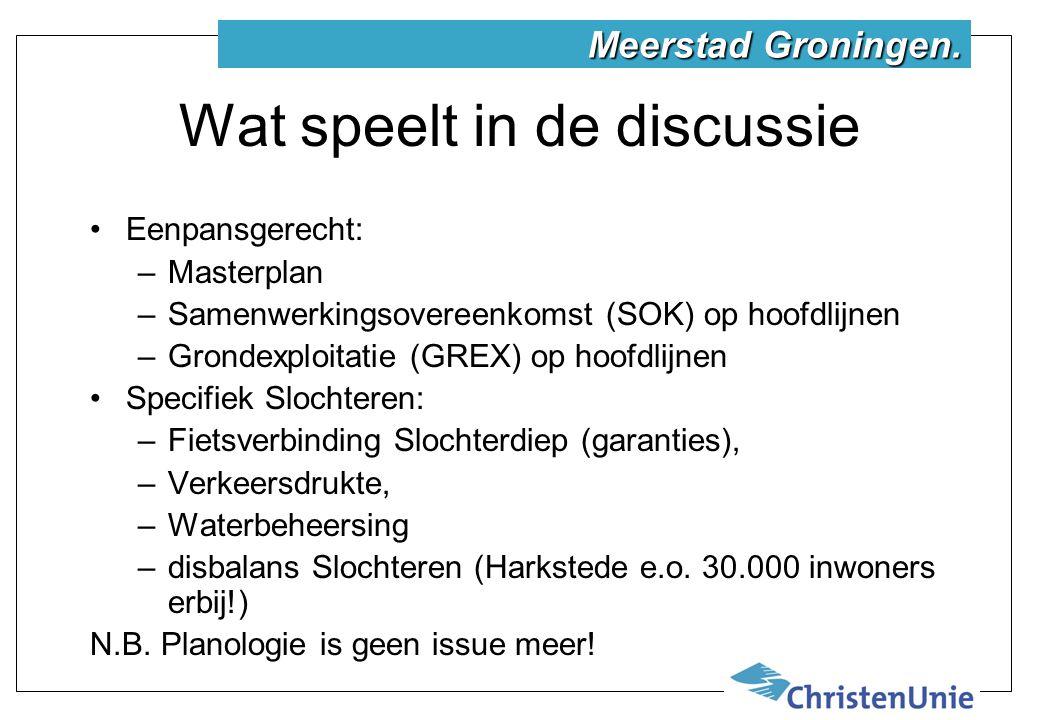 Wat speelt in de discussie Eenpansgerecht: –Masterplan –Samenwerkingsovereenkomst (SOK) op hoofdlijnen –Grondexploitatie (GREX) op hoofdlijnen Specifiek Slochteren: –Fietsverbinding Slochterdiep (garanties), –Verkeersdrukte, –Waterbeheersing –disbalans Slochteren (Harkstede e.o.