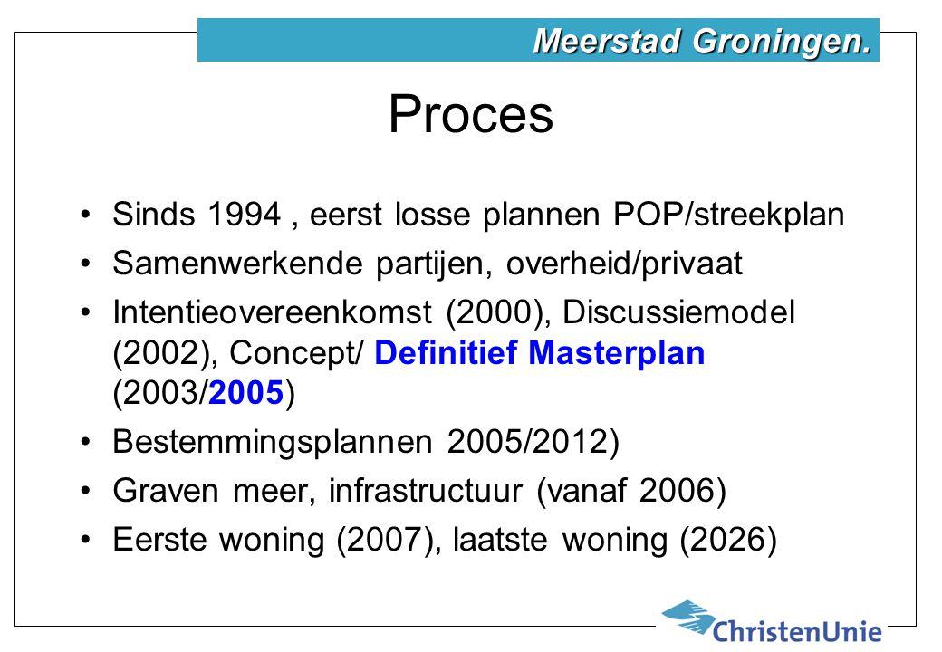 Proces Sinds 1994, eerst losse plannen POP/streekplan Samenwerkende partijen, overheid/privaat Intentieovereenkomst (2000), Discussiemodel (2002), Concept/ Definitief Masterplan (2003/2005) Bestemmingsplannen 2005/2012) Graven meer, infrastructuur (vanaf 2006) Eerste woning (2007), laatste woning (2026) Meerstad Groningen.