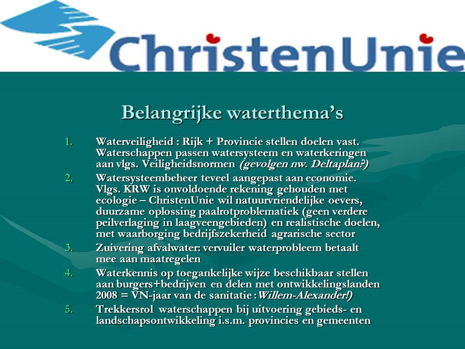 Belangrijke waterthema's 1.Waterveiligheid : Rijk + Provincie stellen doelen vast. Waterschappen passen watersysteem en waterkeringen aan vlgs. Veilig