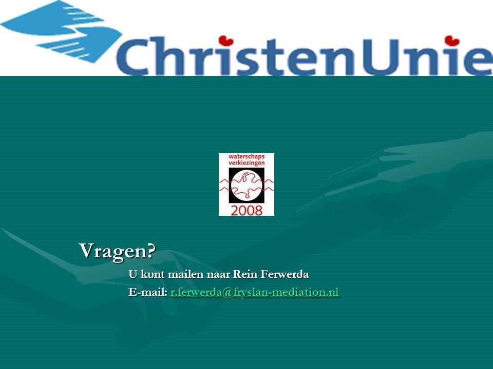 Vragen? U kunt mailen naar Rein Ferwerda E-mail: r.ferwerda@fryslan-mediation.nl r.ferwerda@fryslan-mediation.nl