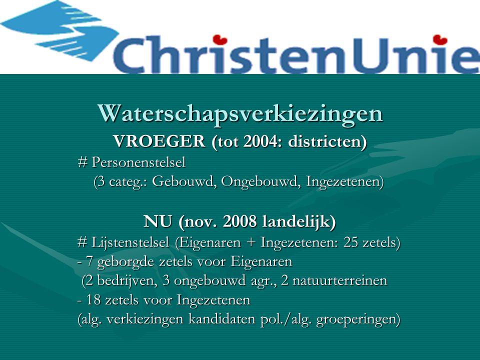 Waterschapsverkiezingen VROEGER (tot 2004: districten) # Personenstelsel (3 categ.: Gebouwd, Ongebouwd, Ingezetenen) (3 categ.: Gebouwd, Ongebouwd, In