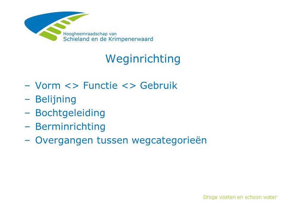 Droge voeten en schoon water Weginrichting –Vorm <> Functie <> Gebruik –Belijning –Bochtgeleiding –Berminrichting –Overgangen tussen wegcategorieën