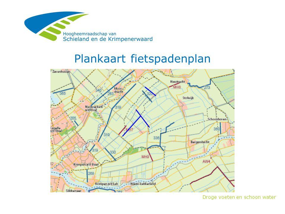 Droge voeten en schoon water Plankaart fietspadenplan