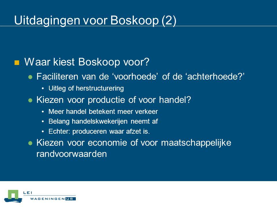 Uitdagingen voor Boskoop (2) Waar kiest Boskoop voor? Faciliteren van de 'voorhoede' of de 'achterhoede?' Uitleg of herstructurering Kiezen voor produ
