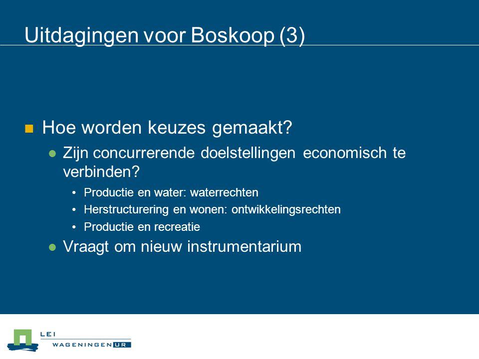 Uitdagingen voor Boskoop (3) Hoe worden keuzes gemaakt? Zijn concurrerende doelstellingen economisch te verbinden? Productie en water: waterrechten He