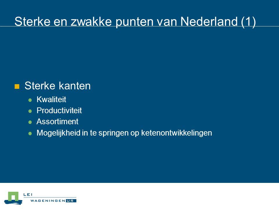 Sterke en zwakke punten van Nederland (2) Zwakke kanten: Hoog kostenniveau Beschikbaarheid arbeid Knellend milieubeleid (niet overdrijven) Water Mineralen Gewasbescherming Beschikbaarheid ruimte Cultuur van samenwerken