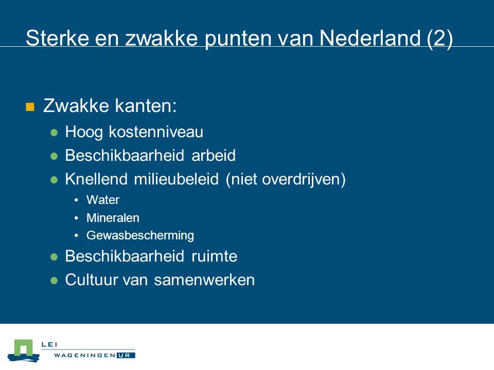 Sterke en zwakke punten van Nederland (2) Zwakke kanten: Hoog kostenniveau Beschikbaarheid arbeid Knellend milieubeleid (niet overdrijven) Water Miner