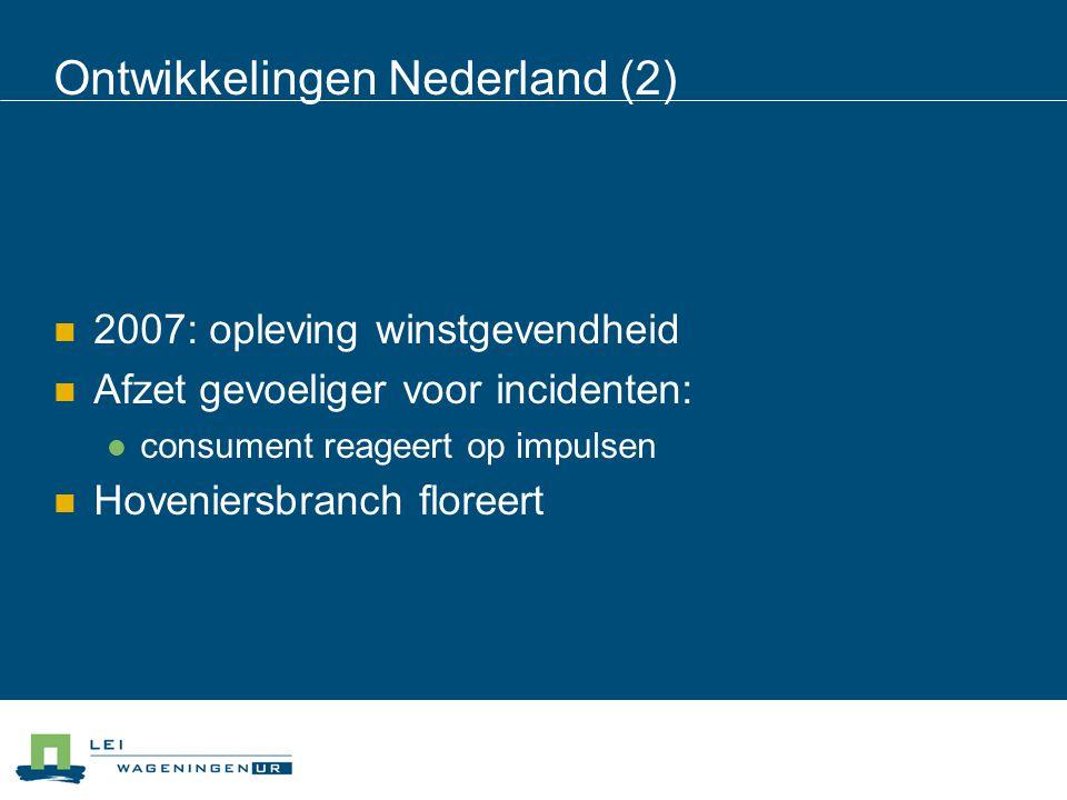 Ontwikkelingen Nederland (2) 2007: opleving winstgevendheid Afzet gevoeliger voor incidenten: consument reageert op impulsen Hoveniersbranch floreert