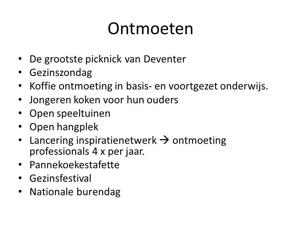 Ontmoeten De grootste picknick van Deventer Gezinszondag Koffie ontmoeting in basis- en voortgezet onderwijs. Jongeren koken voor hun ouders Open spee