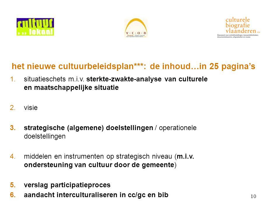 10 het nieuwe cultuurbeleidsplan***: de inhoud…in 25 pagina's 1.situatieschets m.i.v. sterkte-zwakte-analyse van culturele en maatschappelijke situati