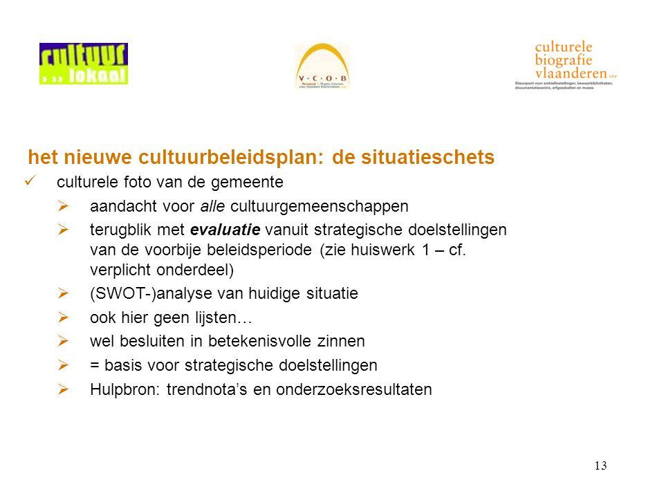 13 het nieuwe cultuurbeleidsplan: de situatieschets culturele foto van de gemeente  aandacht voor alle cultuurgemeenschappen  terugblik met evaluatie vanuit strategische doelstellingen van de voorbije beleidsperiode (zie huiswerk 1 – cf.