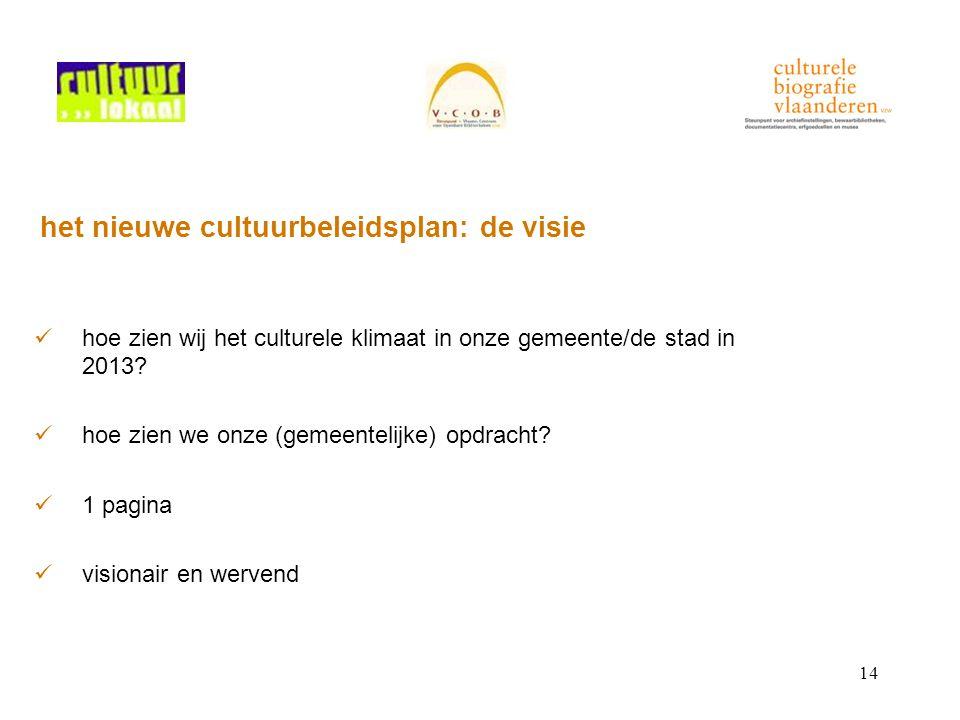 14 het nieuwe cultuurbeleidsplan: de visie hoe zien wij het culturele klimaat in onze gemeente/de stad in 2013.