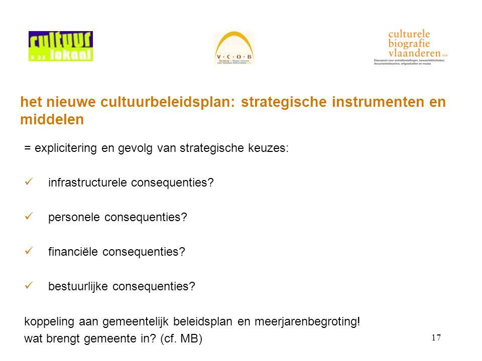 17 het nieuwe cultuurbeleidsplan: strategische instrumenten en middelen = explicitering en gevolg van strategische keuzes: infrastructurele consequenties.