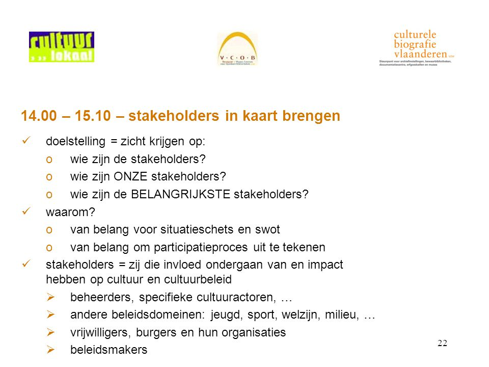 22 14.00 – 15.10 – stakeholders in kaart brengen doelstelling = zicht krijgen op: owie zijn de stakeholders.