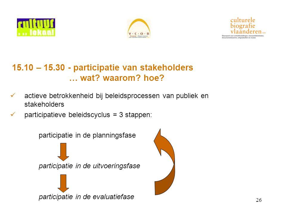 26 15.10 – 15.30 - participatie van stakeholders … wat? waarom? hoe? actieve betrokkenheid bij beleidsprocessen van publiek en stakeholders participat