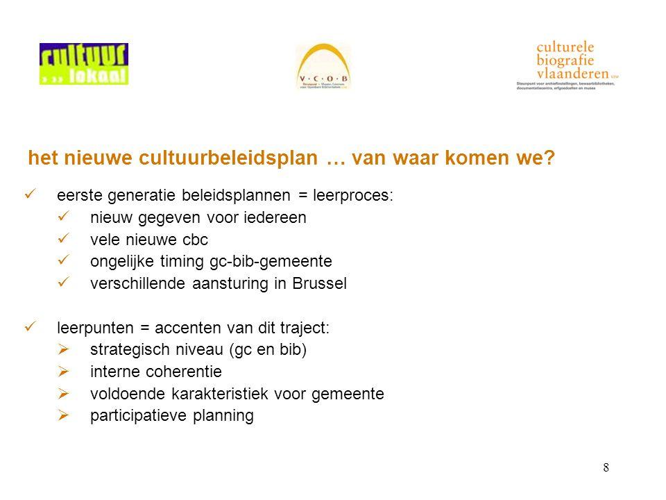 8 het nieuwe cultuurbeleidsplan … van waar komen we.