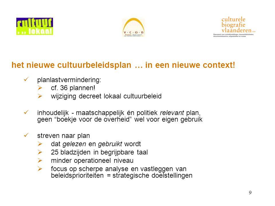 9 het nieuwe cultuurbeleidsplan … in een nieuwe context! planlastvermindering:  cf. 36 plannen!  wijziging decreet lokaal cultuurbeleid inhoudelijk