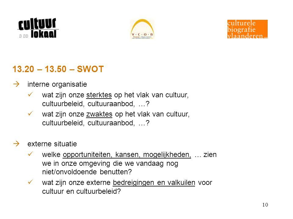 10 13.20 – 13.50 – SWOT  interne organisatie wat zijn onze sterktes op het vlak van cultuur, cultuurbeleid, cultuuraanbod, …? wat zijn onze zwaktes o
