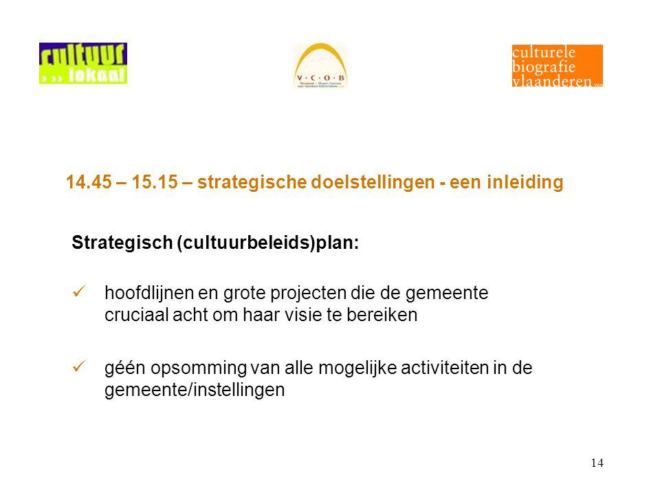 14 14.45 – 15.15 – strategische doelstellingen - een inleiding Strategisch (cultuurbeleids)plan: hoofdlijnen en grote projecten die de gemeente crucia