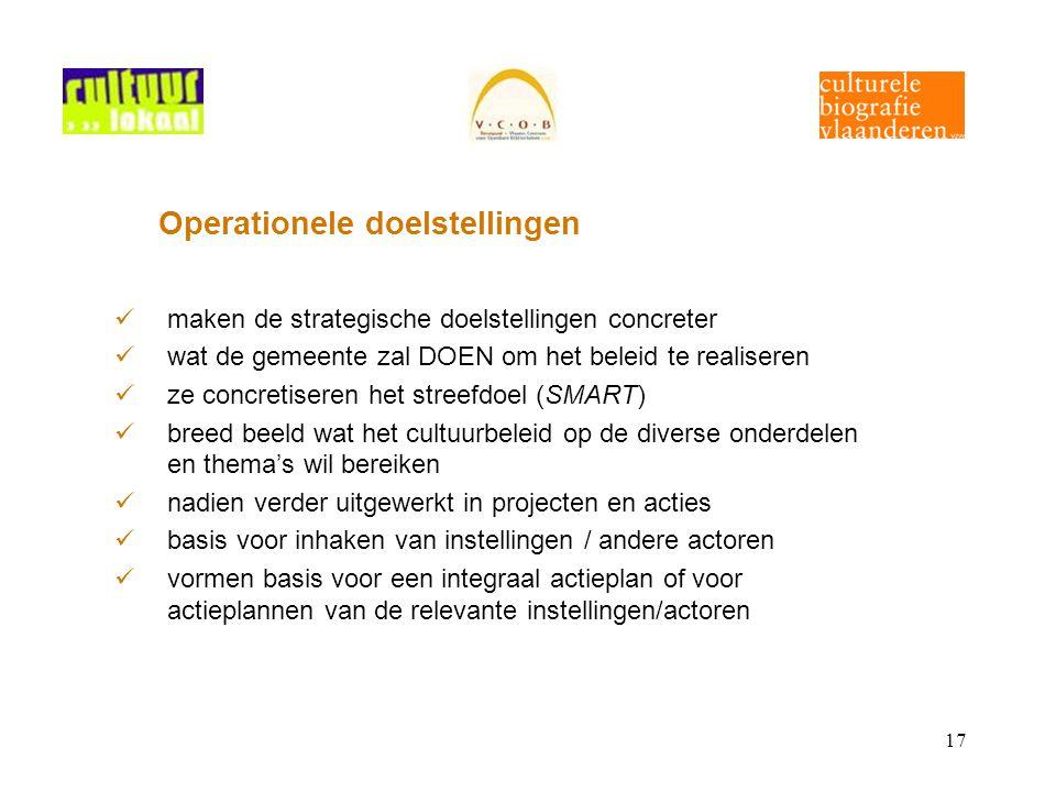 17 Operationele doelstellingen maken de strategische doelstellingen concreter wat de gemeente zal DOEN om het beleid te realiseren ze concretiseren he
