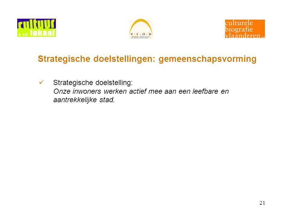 21 Strategische doelstellingen: gemeenschapsvorming Strategische doelstelling: Onze inwoners werken actief mee aan een leefbare en aantrekkelijke stad