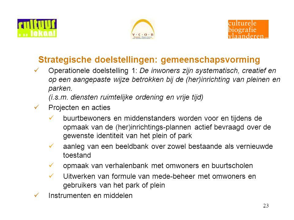 23 Strategische doelstellingen: gemeenschapsvorming Operationele doelstelling 1: De inwoners zijn systematisch, creatief en op een aangepaste wijze betrokken bij de (her)inrichting van pleinen en parken.