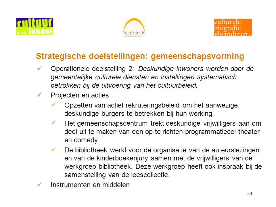 24 Strategische doelstellingen: gemeenschapsvorming Operationele doelstelling 2: Deskundige inwoners worden door de gemeentelijke culturele diensten en instellingen systematisch betrokken bij de uitvoering van het cultuurbeleid.