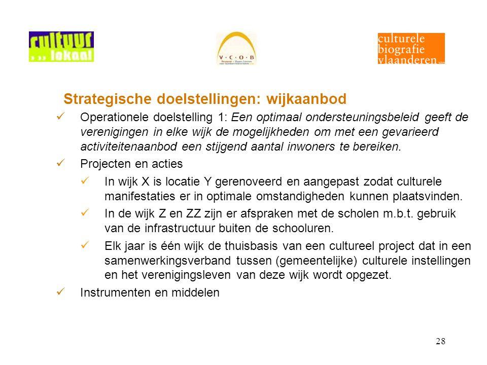 28 Strategische doelstellingen: wijkaanbod Operationele doelstelling 1: Een optimaal ondersteuningsbeleid geeft de verenigingen in elke wijk de mogelijkheden om met een gevarieerd activiteitenaanbod een stijgend aantal inwoners te bereiken.