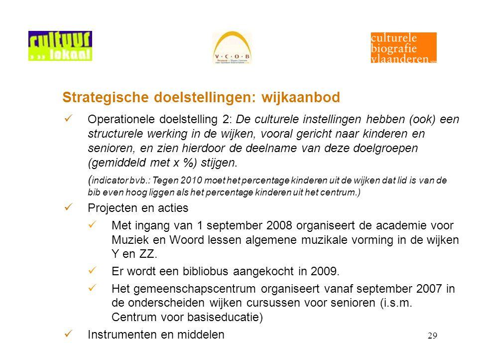 29 Strategische doelstellingen: wijkaanbod Operationele doelstelling 2: De culturele instellingen hebben (ook) een structurele werking in de wijken, v