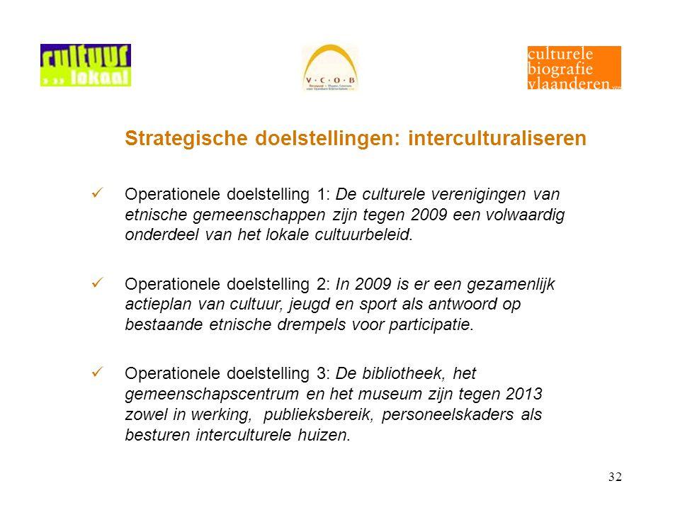 32 Strategische doelstellingen: interculturaliseren Operationele doelstelling 1: De culturele verenigingen van etnische gemeenschappen zijn tegen 2009