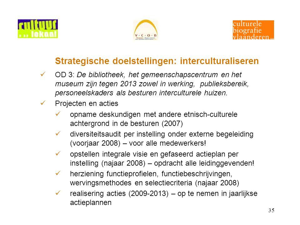 35 Strategische doelstellingen: interculturaliseren OD 3: De bibliotheek, het gemeenschapscentrum en het museum zijn tegen 2013 zowel in werking, publieksbereik, personeelskaders als besturen interculturele huizen.