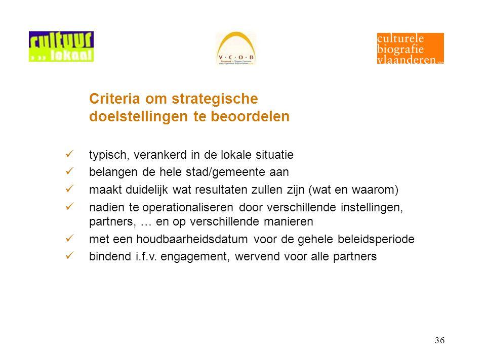 36 Criteria om strategische doelstellingen te beoordelen typisch, verankerd in de lokale situatie belangen de hele stad/gemeente aan maakt duidelijk w