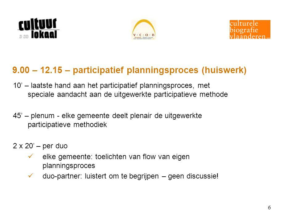 7 9.00 – 12.15 – participatief planningsproces (vervolg) 20' – duo-partner reflecteert kritisch op planningsproces van collega-gemeente waar heb je bewondering voor, ….