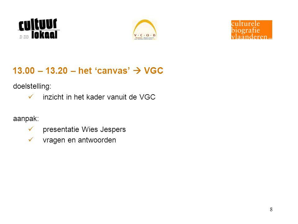 8 13.00 – 13.20 – het 'canvas'  VGC doelstelling: inzicht in het kader vanuit de VGC aanpak: presentatie Wies Jespers vragen en antwoorden