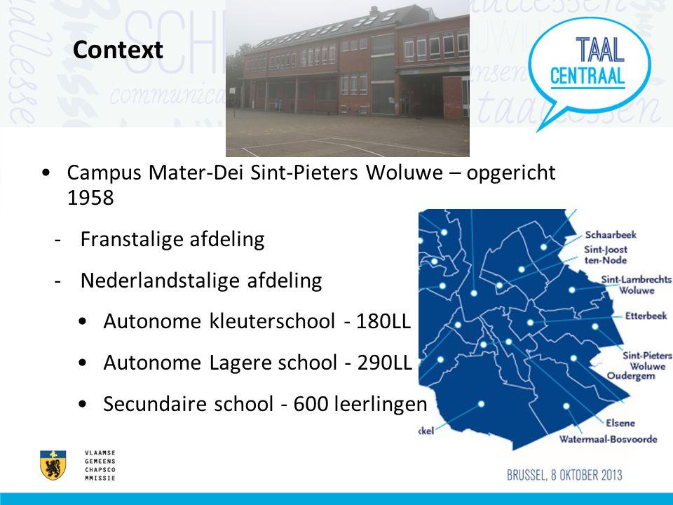 Context Campus Mater-Dei Sint-Pieters Woluwe – opgericht 1958 -Franstalige afdeling -Nederlandstalige afdeling Autonome kleuterschool - 180LL Autonome