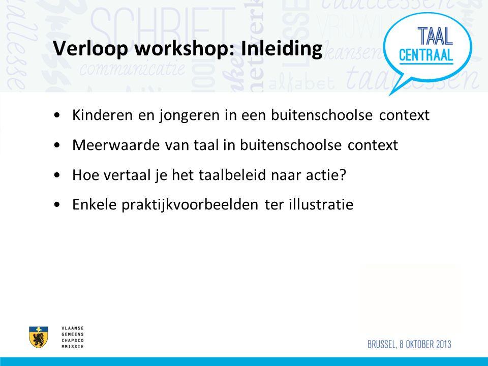Verloop workshop: Inleiding Kinderen en jongeren in een buitenschoolse context Meerwaarde van taal in buitenschoolse context Hoe vertaal je het taalbe