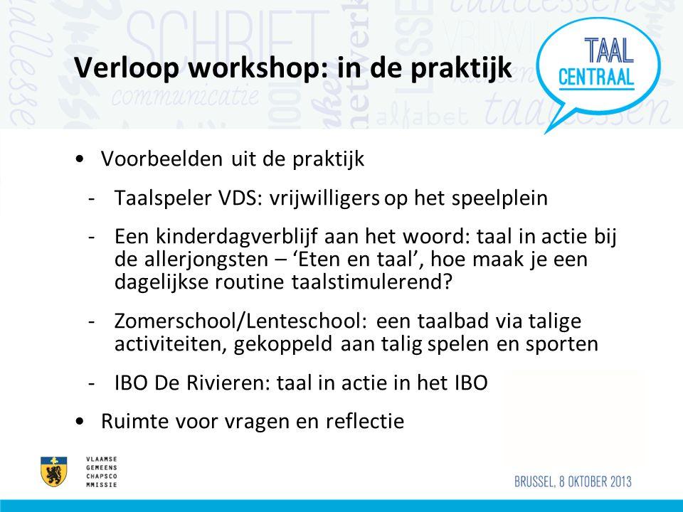 Verloop workshop: in de praktijk Voorbeelden uit de praktijk -Taalspeler VDS: vrijwilligers op het speelplein -Een kinderdagverblijf aan het woord: taal in actie bij de allerjongsten – 'Eten en taal', hoe maak je een dagelijkse routine taalstimulerend.