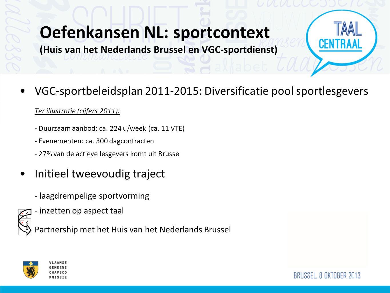 Oefenkansen NL: sportcontext (Huis van het Nederlands Brussel en VGC-sportdienst) VGC-sportbeleidsplan 2011-2015: Diversificatie pool sportlesgevers Ter illustratie (cijfers 2011): - Duurzaam aanbod: ca.