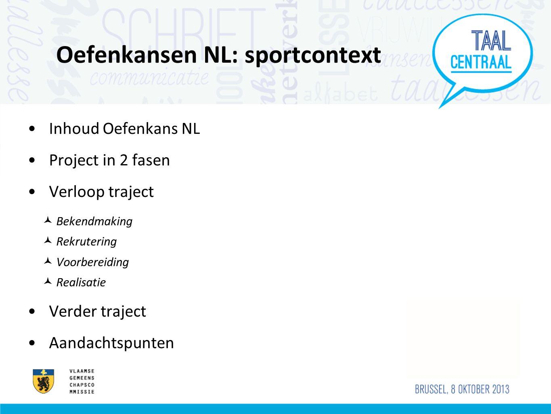 Oefenkansen NL: sportcontext Inhoud Oefenkans NL Project in 2 fasen Verloop traject Bekendmaking Rekrutering Voorbereiding Realisatie Verder traject Aandachtspunten
