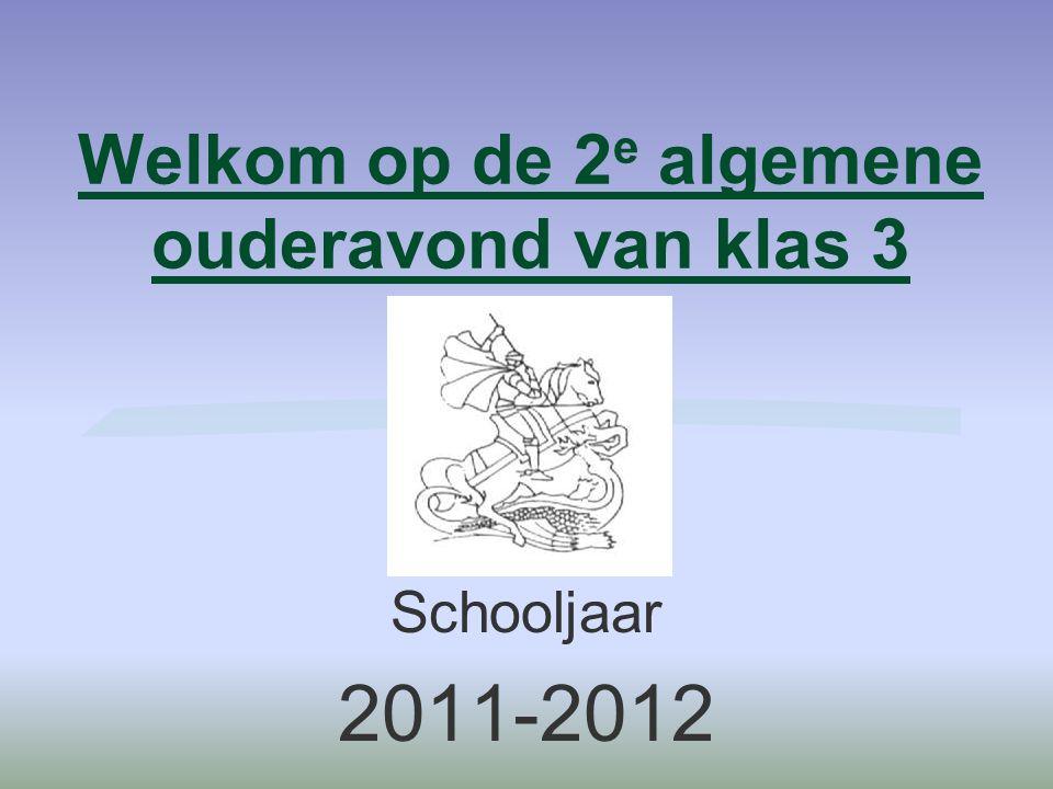 Welkom op de 2 e algemene ouderavond van klas 3 Schooljaar 2011-2012