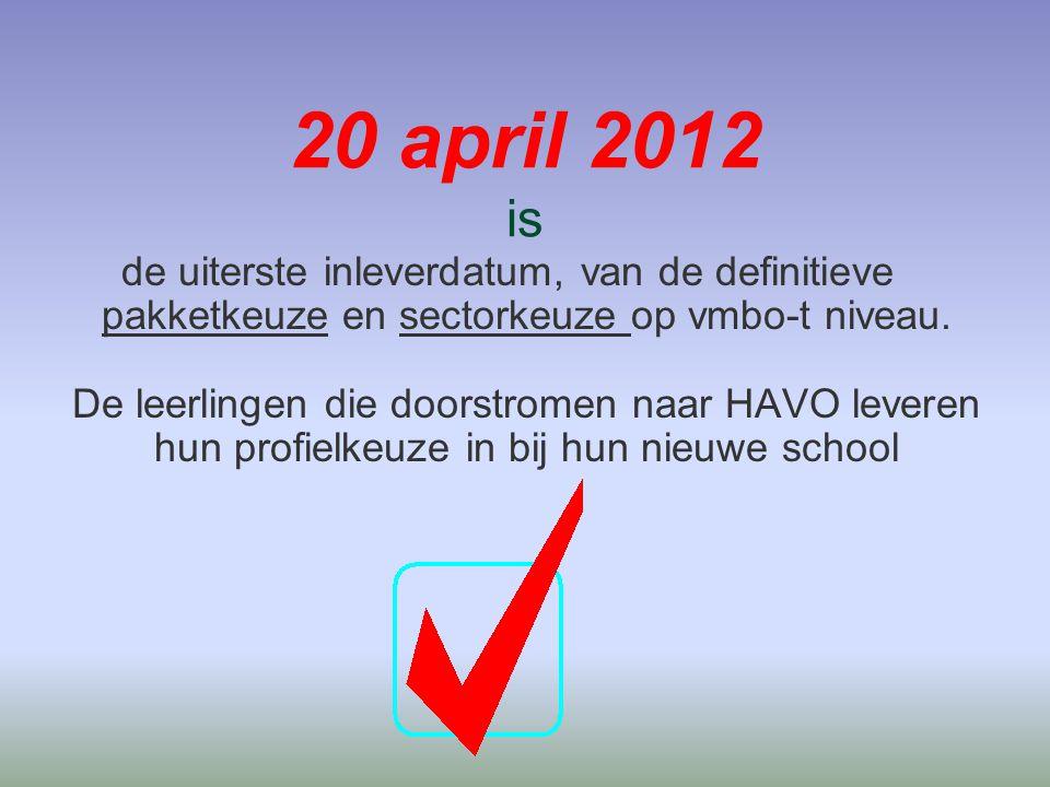 20 april 2012 is de uiterste inleverdatum, van de definitieve pakketkeuze en sectorkeuze op vmbo-t niveau.