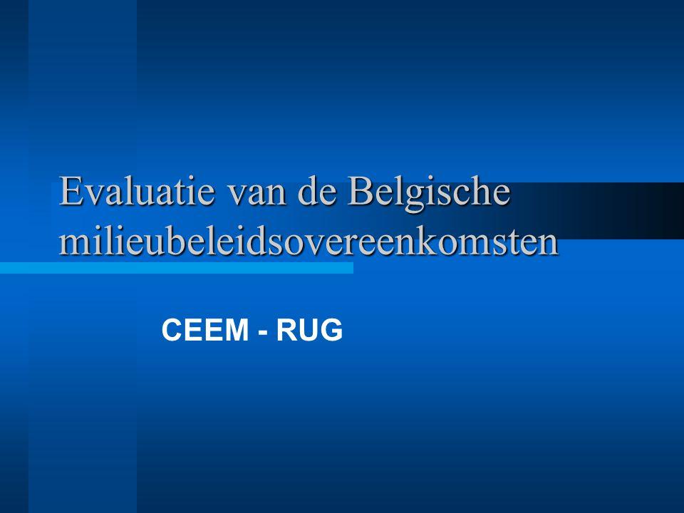 Evaluatie van de Belgische milieubeleidsovereenkomsten 3.7 Besluit Belgische MBO's Niet succesvol: –ALU, VER en PAP door heterogene sector en gebrek aan negatieve (alternatief instrument) of positieve aansporing (competitieve structuur) MBO enkel geschikt voor producten.