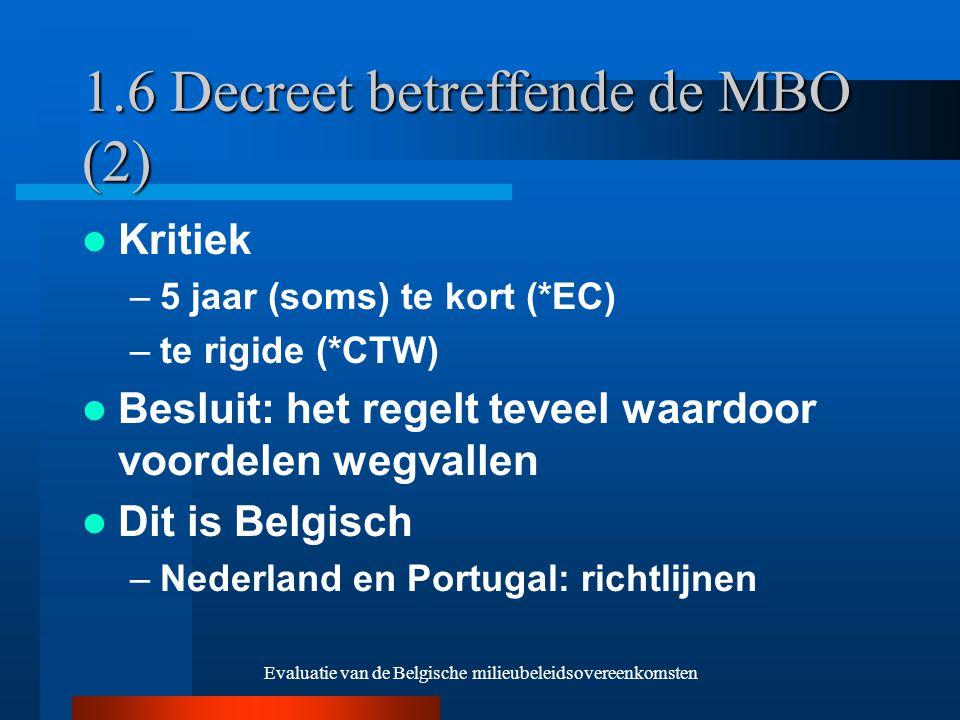 Evaluatie van de Belgische milieubeleidsovereenkomsten 1.6 Decreet betreffende de MBO (2) Kritiek –5 jaar (soms) te kort (*EC) –te rigide (*CTW) Besluit: het regelt teveel waardoor voordelen wegvallen Dit is Belgisch –Nederland en Portugal: richtlijnen