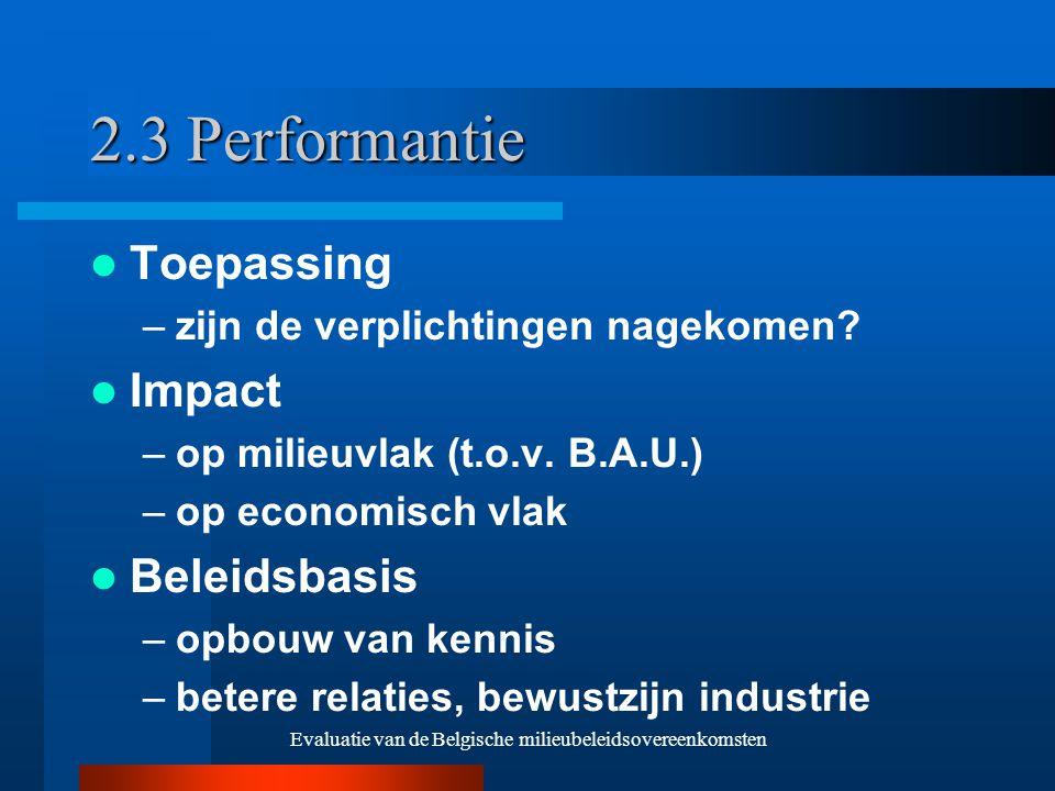 Evaluatie van de Belgische milieubeleidsovereenkomsten 2.3 Performantie Toepassing –zijn de verplichtingen nagekomen.