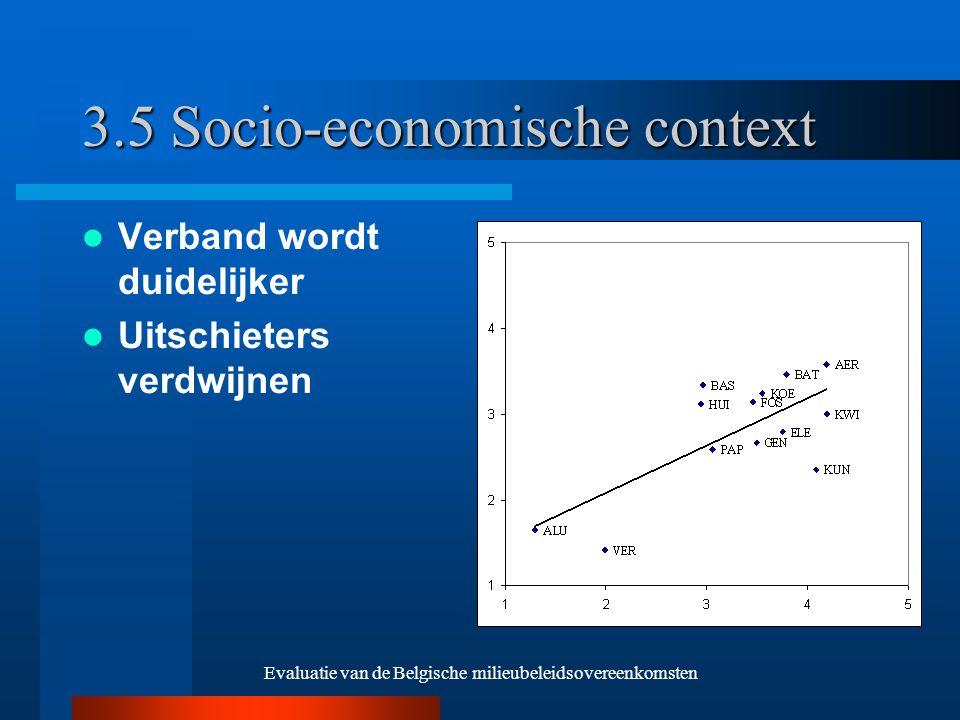 Evaluatie van de Belgische milieubeleidsovereenkomsten 3.5 Socio-economische context Verband wordt duidelijker Uitschieters verdwijnen