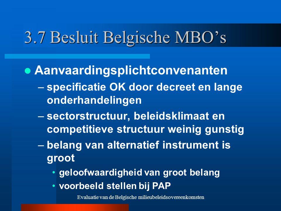 Evaluatie van de Belgische milieubeleidsovereenkomsten 3.7 Besluit Belgische MBO's Aanvaardingsplichtconvenanten –specificatie OK door decreet en lange onderhandelingen –sectorstructuur, beleidsklimaat en competitieve structuur weinig gunstig –belang van alternatief instrument is groot geloofwaardigheid van groot belang voorbeeld stellen bij PAP