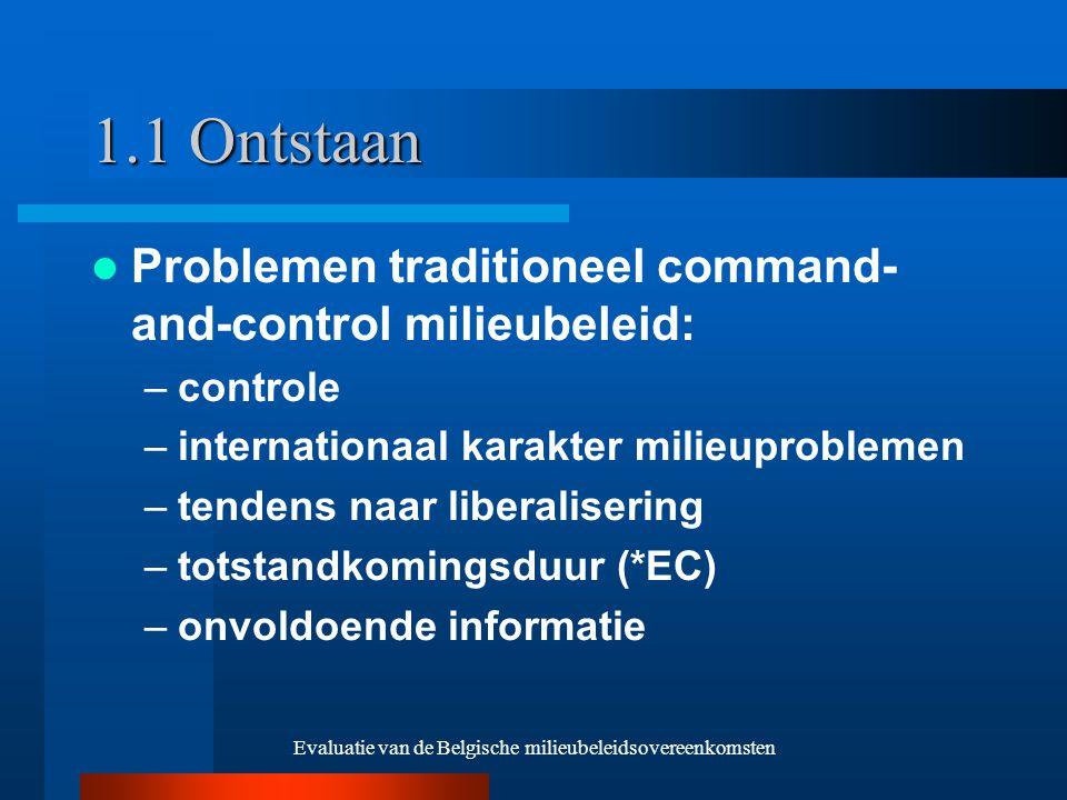 Evaluatie van de Belgische milieubeleidsovereenkomsten 1.1 Ontstaan Problemen traditioneel command- and-control milieubeleid: –controle –internationaal karakter milieuproblemen –tendens naar liberalisering –totstandkomingsduur (*EC) –onvoldoende informatie