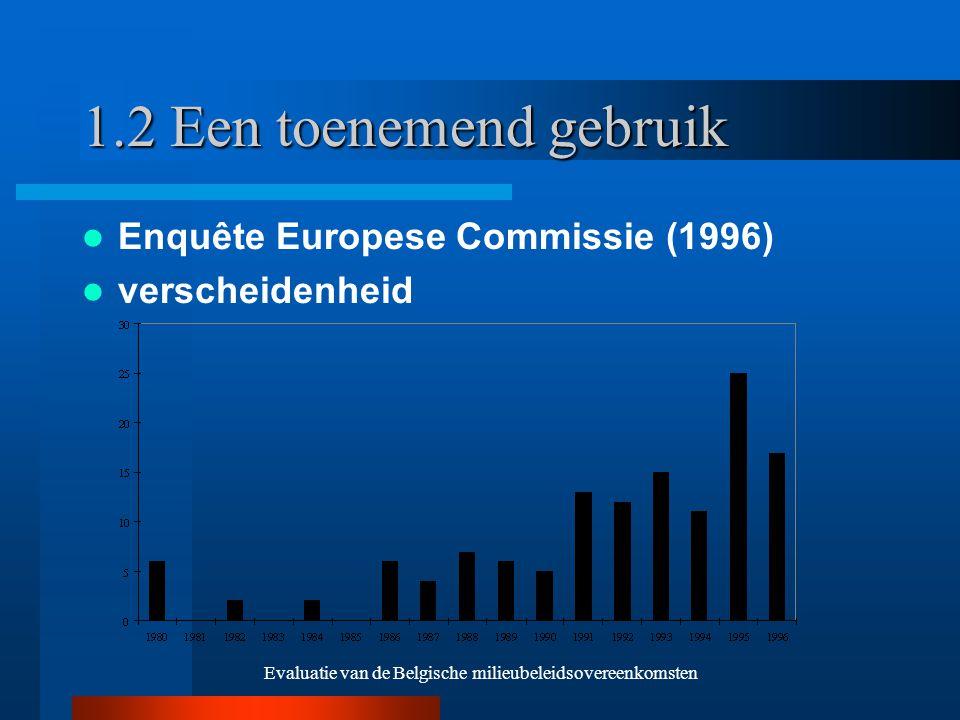 Evaluatie van de Belgische milieubeleidsovereenkomsten 1.2 Een toenemend gebruik Enquête Europese Commissie (1996) verscheidenheid