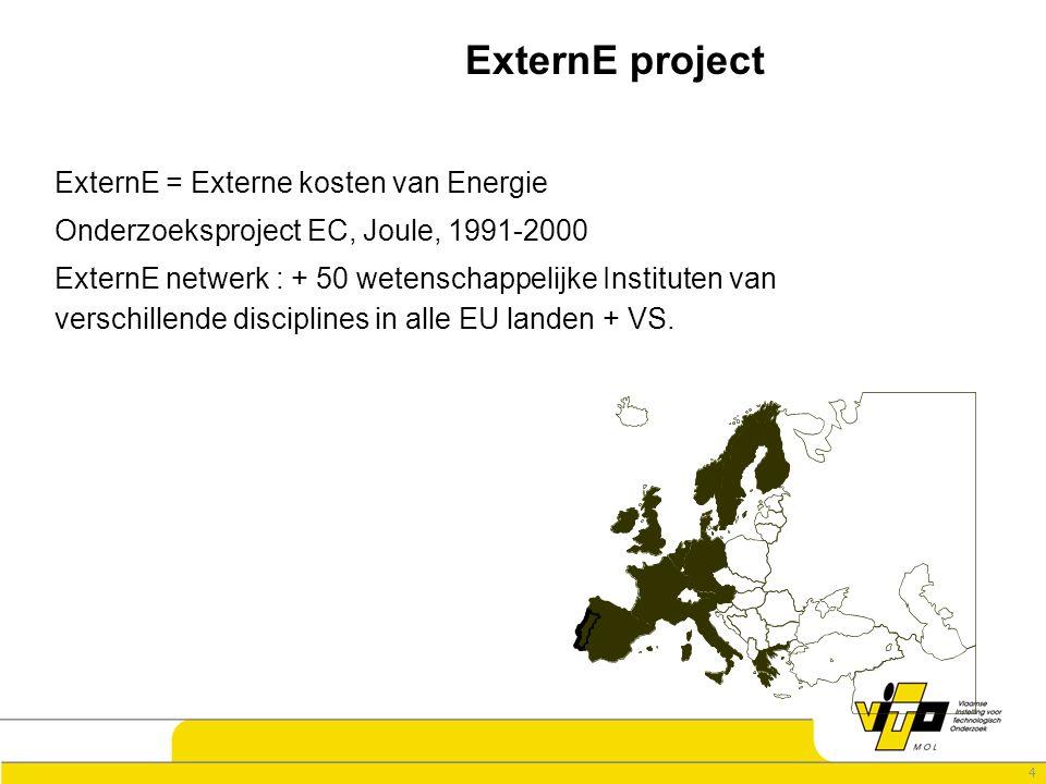 4 ExternE project ExternE = Externe kosten van Energie Onderzoeksproject EC, Joule, 1991-2000 ExternE netwerk : + 50 wetenschappelijke Instituten van verschillende disciplines in alle EU landen + VS.